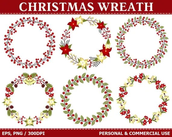 digital christmas wreath clip art