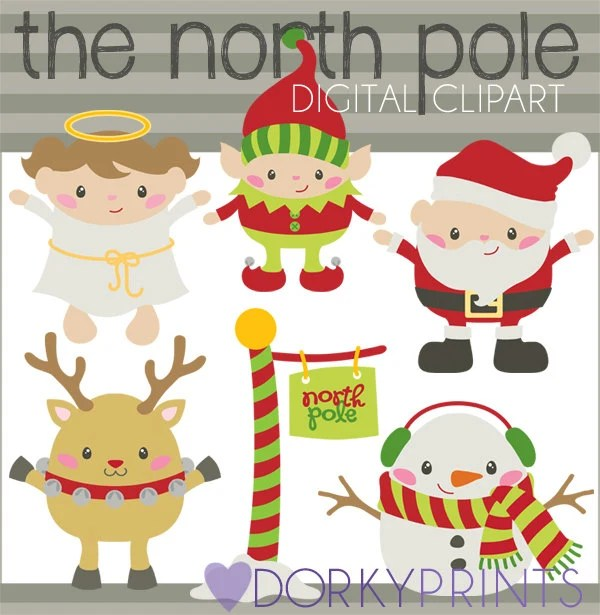 Christmas Clipart Santa39s North Pole Personal and Limited