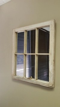 White Distressed Window Mirror Rustic Window Pane Blue