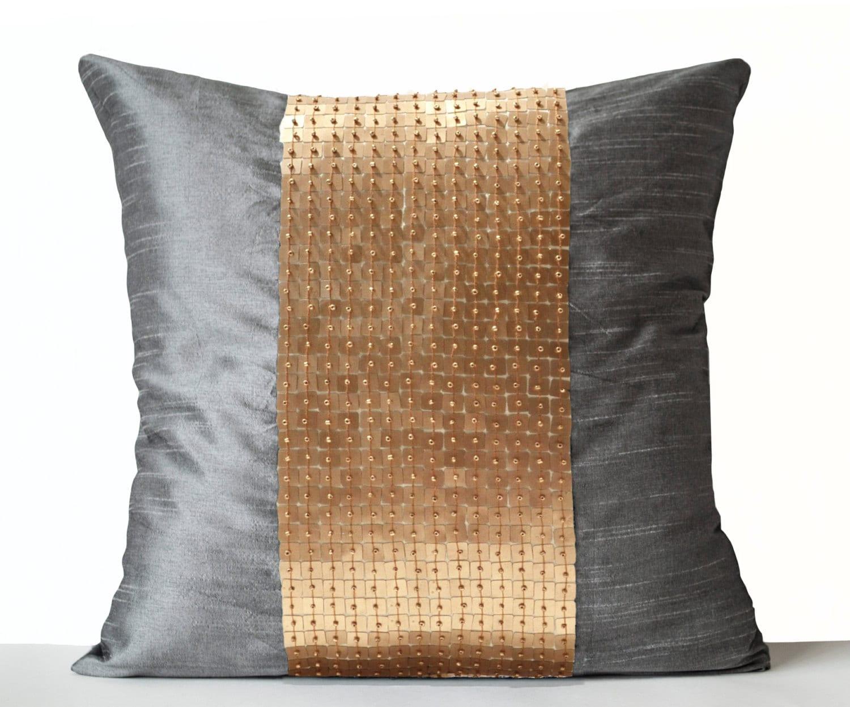 Decorative Pillow Covers Grey Gold Color Block Silk Throw