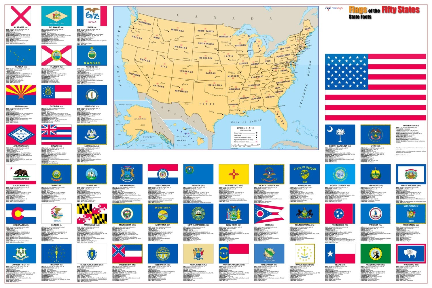 Flags Of The 50 U S States Wall Map Poster 36x24
