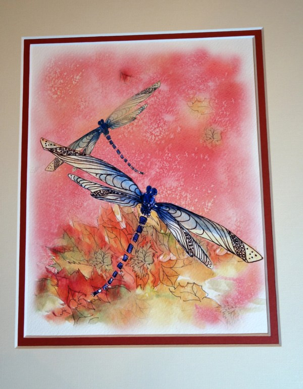 Autumn Dragonflies Watercolor Painting Dragonfly Art
