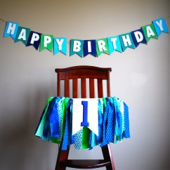 High Chair Decorations 1st Birthday Boy Antique Parlor Chairs Tutu Rag Tie Fabric Bunting Banner Green