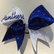 panthers cheer bow in royal blue