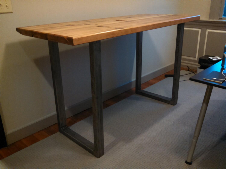 Statim Industrial Standing Desk with Steel tubing metal U Legs