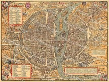 Vintage Map Of Paris Historic 1575 Plan De France