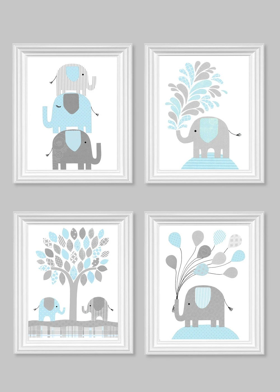 Light Blue and Gray Nursery Art Elephant Children's Decor