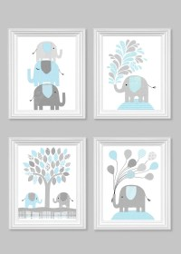 Light Blue and Gray Nursery Art Elephant Children's Decor