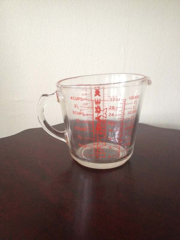 Vintage Pyrex 4 Cup Glass Measuring With Red Lettering