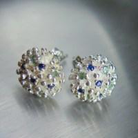 Natural green blue Alexandrite & blue sapphire studs earrings