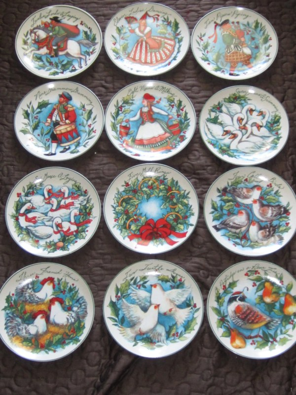 Susan Winget 12 Days Of Christmas Dessert Plates Boxed