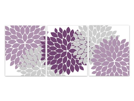 Items similar to Home Decor Wall Art Purple and Grey