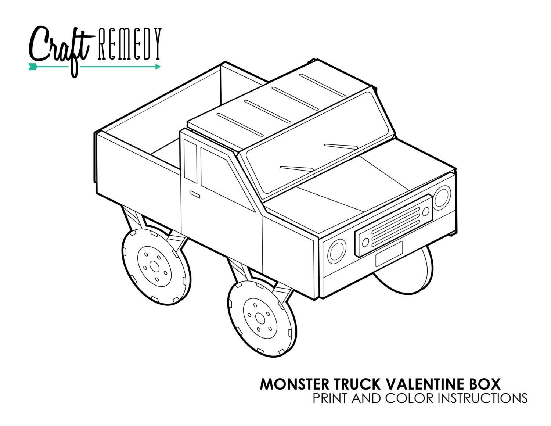 Monster Truck Valentine Box Instructions Digital Art File
