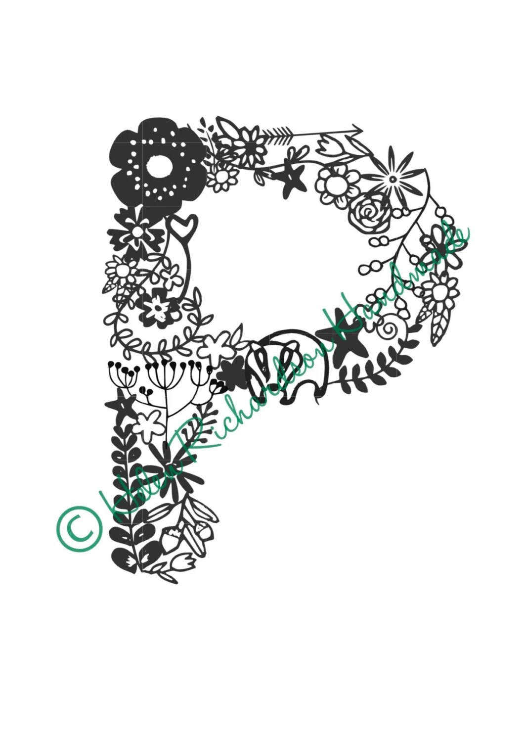 Floral Alphabet Letter P Paper Cutting Template For Personal