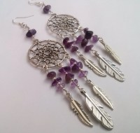 Amethyst Dreamcatcher Earrings Dream Catcher Earrings