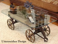 Antique Wood Wagon Coffee Table, Glass Top Display Table ...