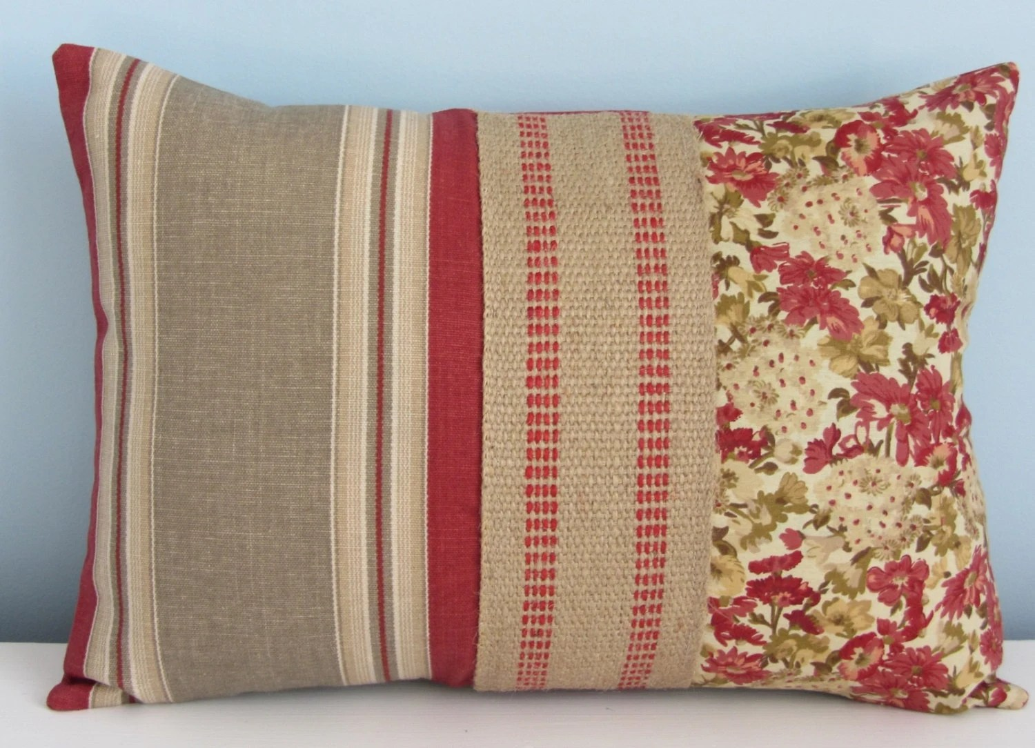 French country pillow cover Country cottage Red rust tan
