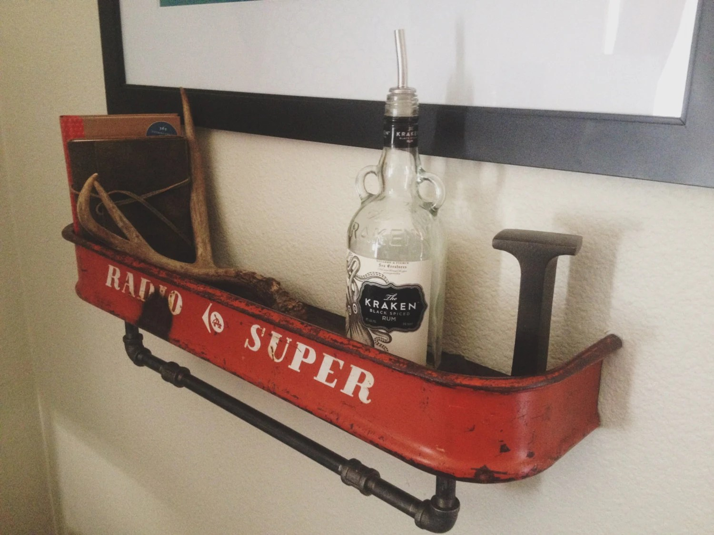 Repurposed Vintage Red Radio Flyer Wagon Shelf