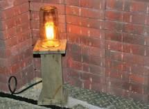 Repurposed Pallet Wood Mason Jar Lamp Amber Edison