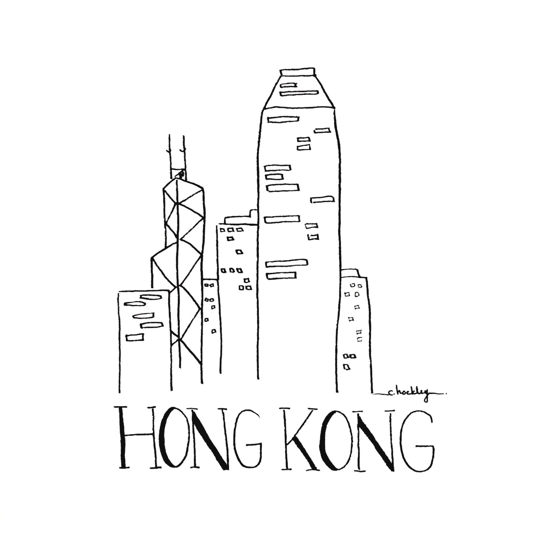 City Sketch Hong Kong Black And White Illustration Wall