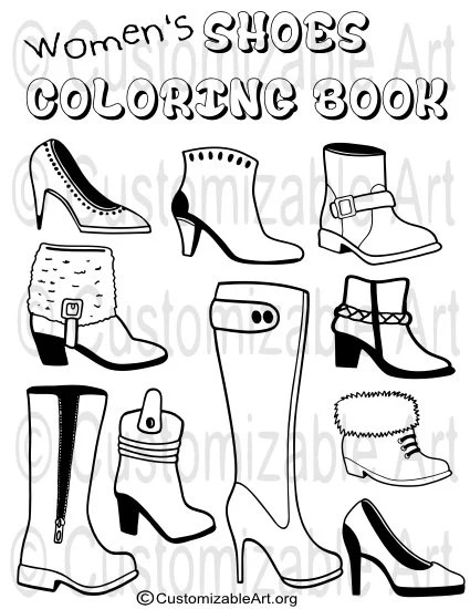 Printable Coloring Book PDF Womens Girls Shoes by
