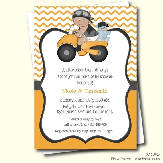 Items Similar To Motorcycle Baby Shower Invitation