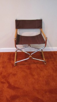 RESERVED Vintage Directors Chair Chrome and Bamboo Mid