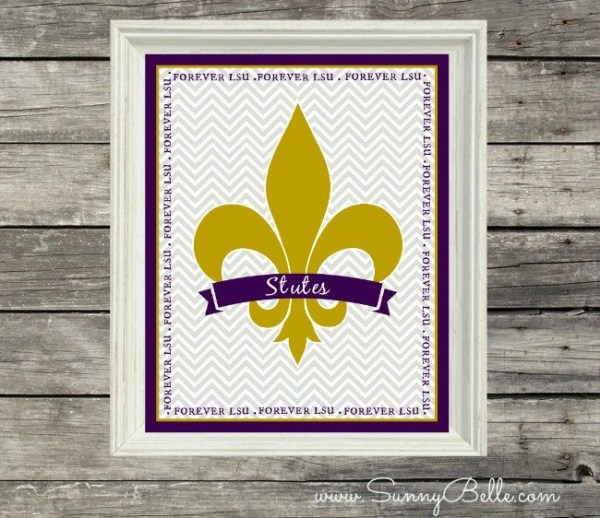 Forever LSU Louisiana Print LSU Tigers Fleur De Lis