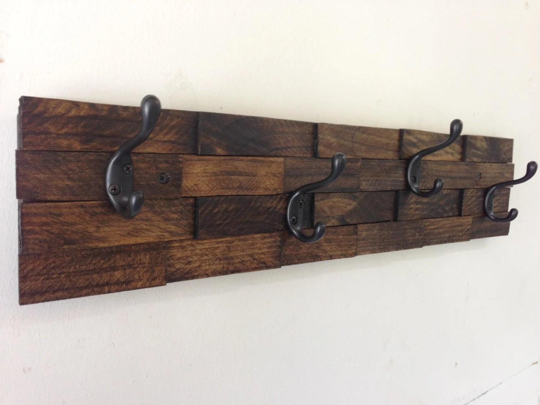 Rustic wood coat rack entryway storage wall coat rack 4