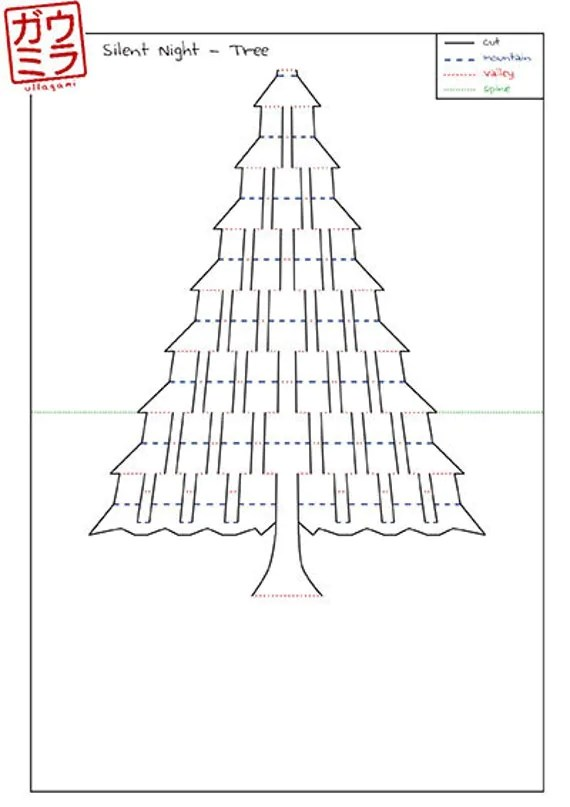 DIY Template Silent Night Christmas Tree Card by Ullagami