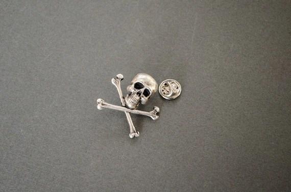 Crossbones Tie Tack Skull Tie Tack Gothic Tie Tack Halloween
