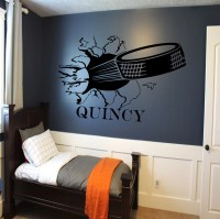 Custom Hockey Puck Bursting Through Wall Decal Custom Sports