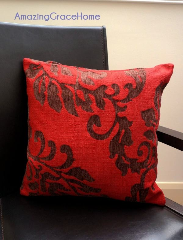 Red Chenille Throw Pillow Covers Floral Embroidered