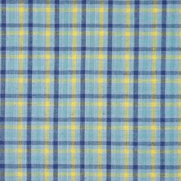 Blue Plaid Shirting Yarn Dyed Fabric Yellow