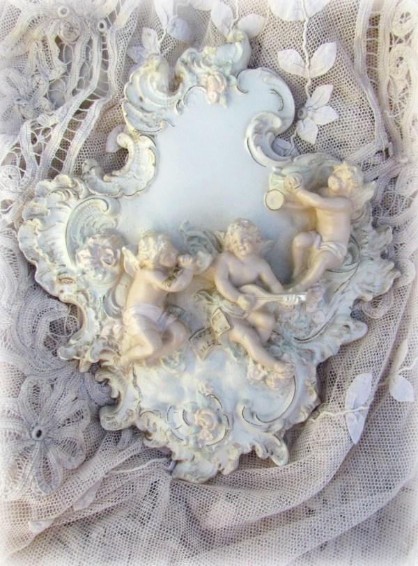 Vintage Rococo Cherub Angel Wall Plaque