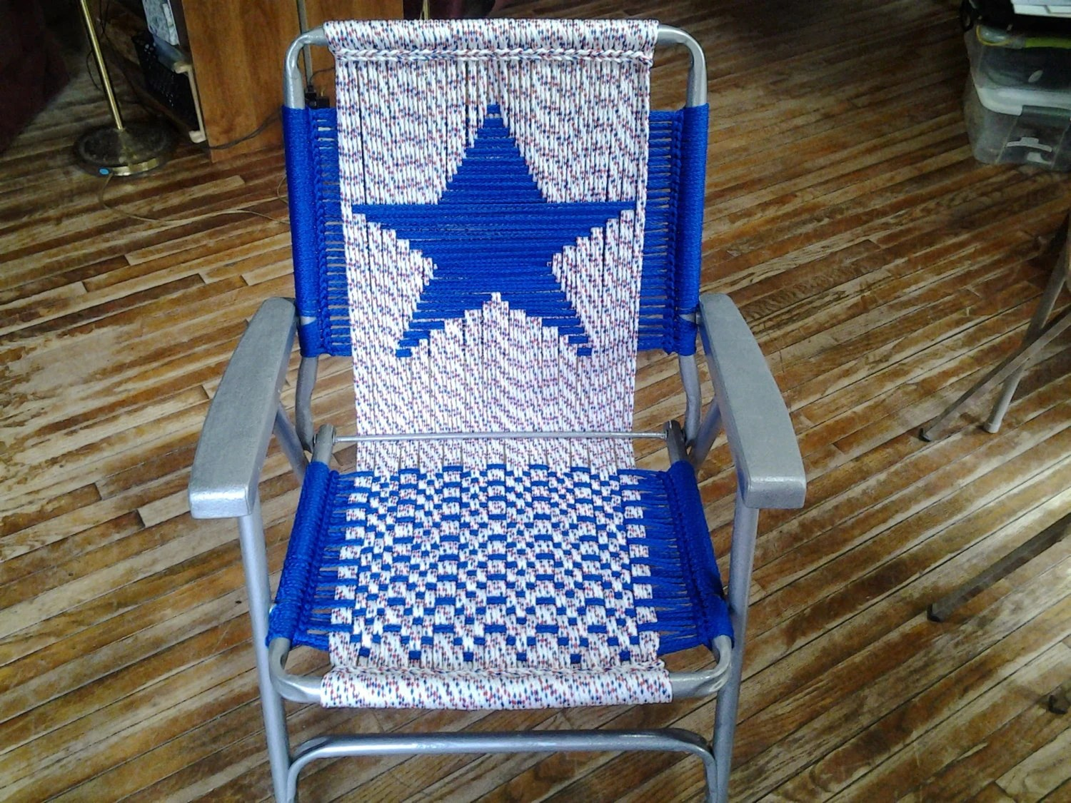 macrame lawn chair baby blue spandex covers