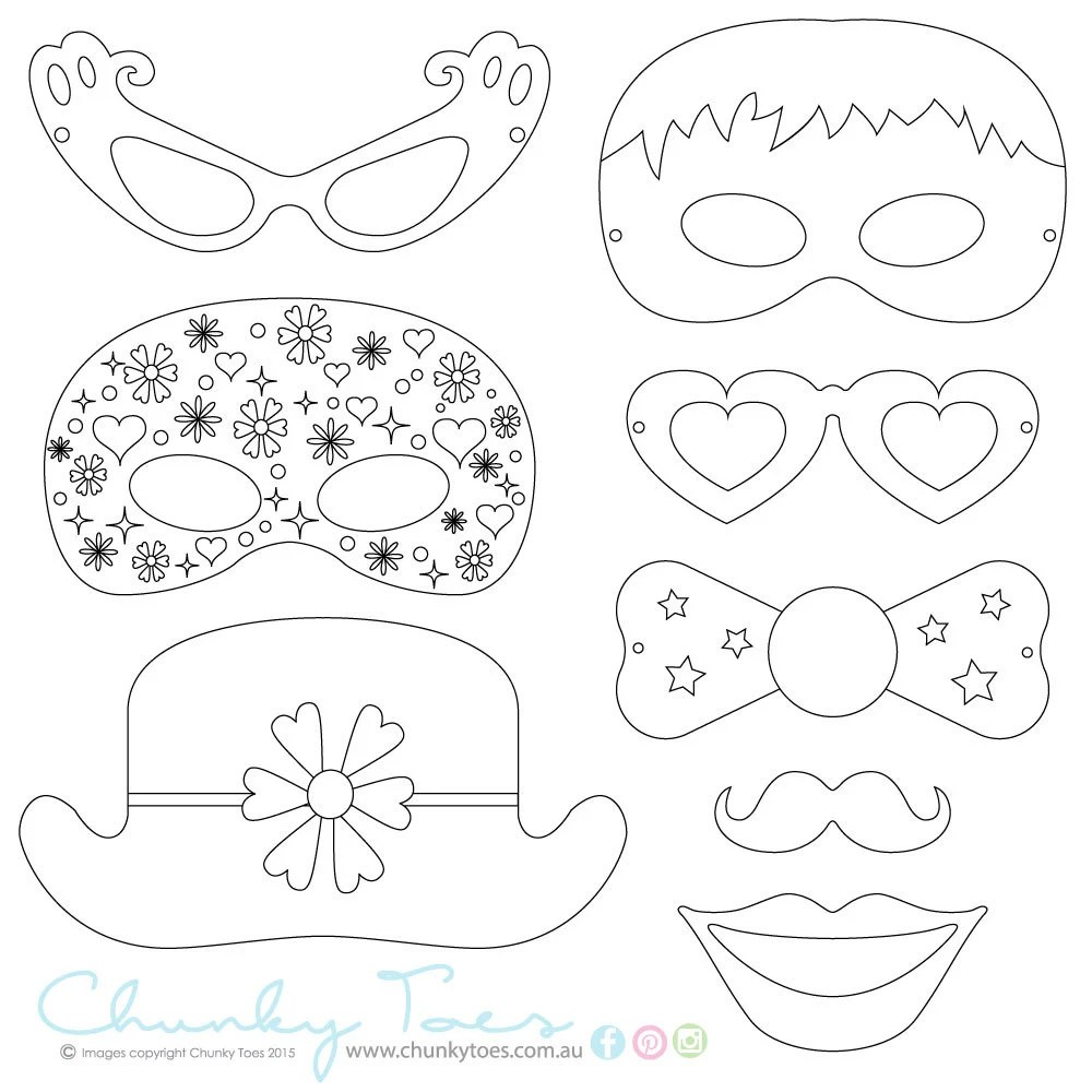 Kids Colouring In Masks / Photo Booth Props Rainy Day
