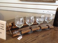Wine barrel stave flight glass holder reclaimed oak wood