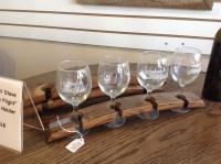Wine barrel stave flight glass holder reclaimed oak wood