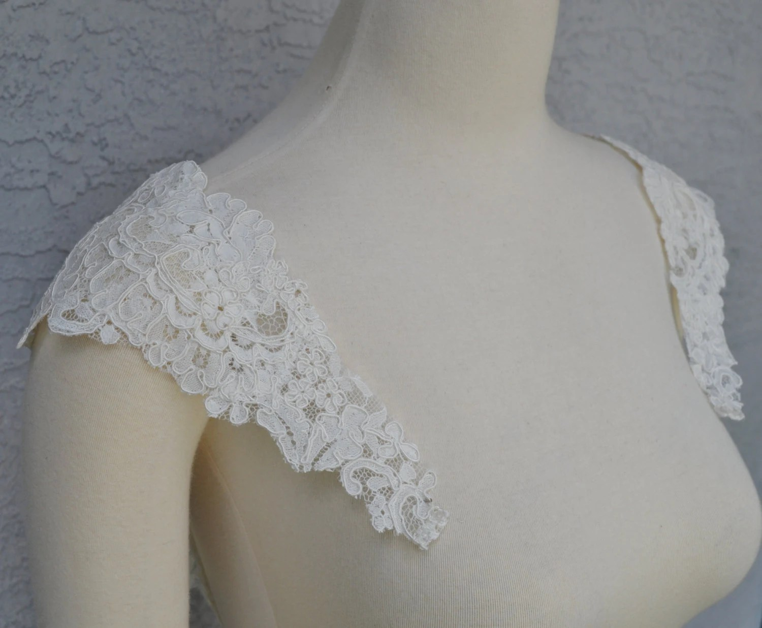 Detachable Ivory Alencon Lace Straps To Add To Your Wedding