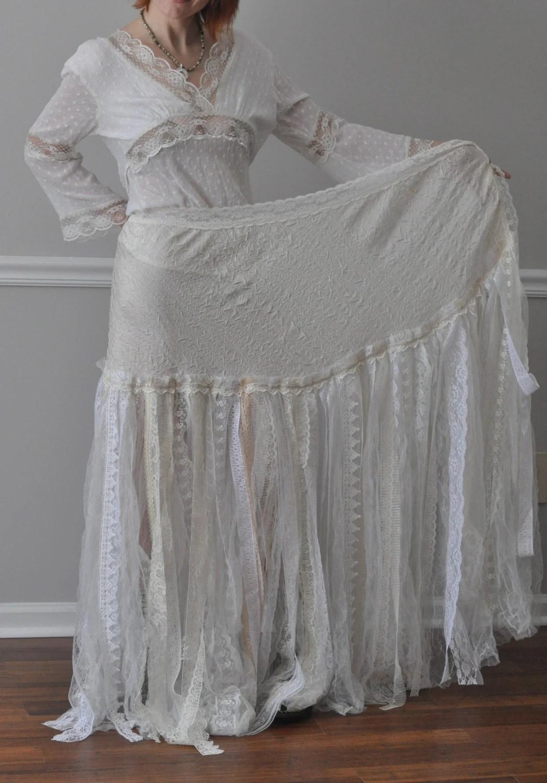 Ivory Crinkled Taffeta Tulle Shredded Lace Wrap Skirt