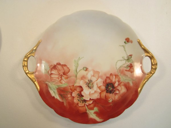 Antique Hand Painted Limoges Plate .l. France Red Poppies