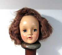 VINTAGE Doll Head Movable Eyes Red Hair Hard Plastic by ...