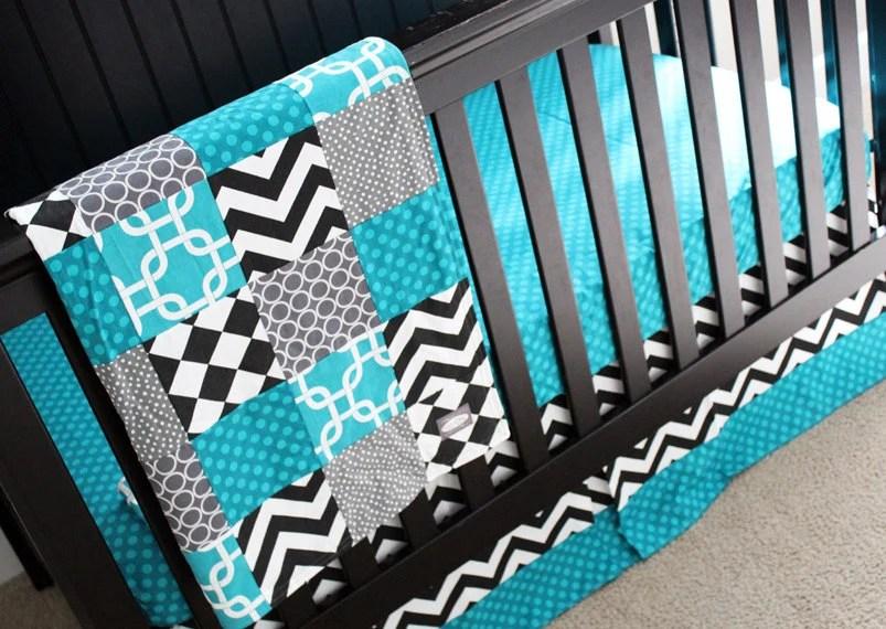 Baby Boy Crib Bedding Teal Black Bedding Grey And By