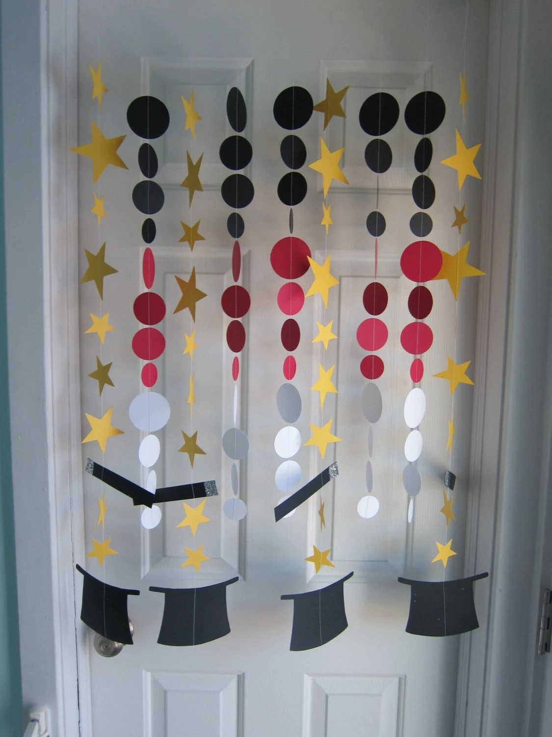 decorations for living room ideas orange and brown accessories paper garland magic party hats
