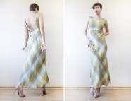 Cacharel Pastel Green Plaid Linen Maxi Sun Dress -l