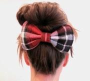 big dolly bow red tartan hair