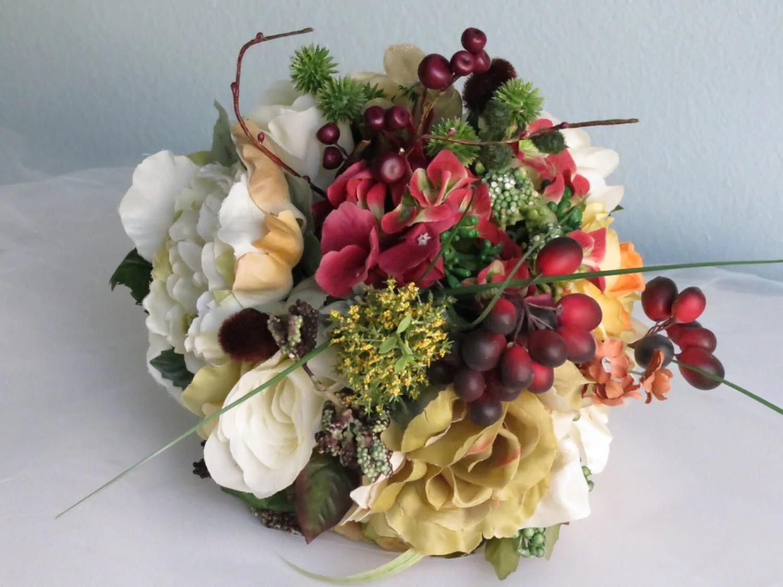 Autumn Wedding Bridal Bouquet Silk Flowers Wedding Accessory