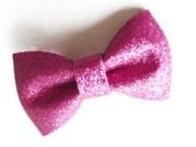 hot pink glitter bow hair
