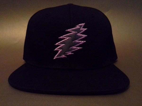 Grateful Dead Lightning Bolt Applique Snapback Hat Black